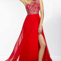 Asymmetrical Chiffon Gown by Paparazzi by Mori Lee
