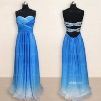chiffon gradient prom dresses, gradient prom dress, chiffon prom dresses, long prom dresses, cheap prom dresses, dresses for prom, RE465
