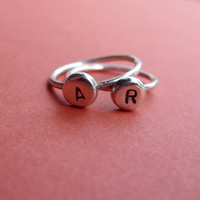 Stacking Set of TWO Sterling Silver Initial Rings - Pebble Monogram Ring - Personalized Keepsake
