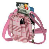 PLAID LIGHT PINK PURSE PLUS CELL PHONE CASE