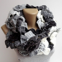 2014 scarf trend ,infinity scarves ,floral ,lariat scarf ,eternity scarf ,gray black white ACRYLIC yarn ,Alize yarn