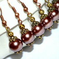 Bridesmaid pearl earrings dark coffee bronze bridal earrings set of 6 bridal party earrings