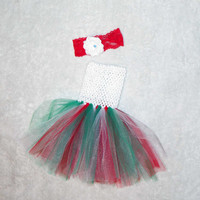 Ready to ship tutu dress set- Christmas baby tutu, Christmas baby dress, 1st Christmas outfit, 1st Christmas dress, baby Christmas tutu
