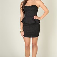 Strapless Textured Day Dress with Peplum and Open Knot Bow Back