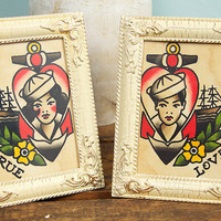 Set of Two Traditional Style Tattoo Flash Paintings by MatthewDunn