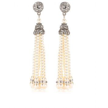 mytheresa.com - Pearl Tassel Swarovski crystal earrings - Luxury Fashion for Women / Designer clothing, shoes, bags