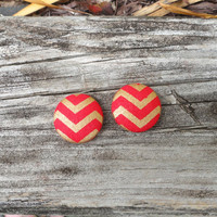 Red Button Earrings, Red Earrings, Gold Earrings, Chevron Earrings, Fabric Earrings, Button Earrings, Post Earrings, Red and Gold, Christmas