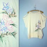 70s cream blouse - watercolor blouse - cut out shoulder top - plus size
