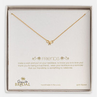 Women's Dogeared 'Friends - Bow' Boxed Pendant Necklace - Gold Dipped (Nordstrom Exclusive)