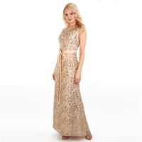 Betsy & Adam Sequined Soutache Illusion Gown at Von Maur