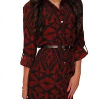 Burgundy Tribal Belted Tunic