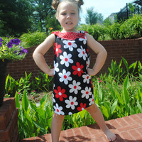PDF Girls sewing pattern Scallop collar dress size 6,7,8