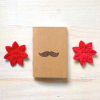 Notebook: Small Notebook, Mustache, Men, Man, Funny, Humor, Unique, For Him, Jotter, Gift, Journal, Stamped, Stocking Stuffer, Hand Carved