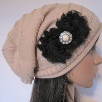 Tan Taupe Beige Knit Slouch Beanie Winter Hat With Black Chiffon Flowers and Matching Accent