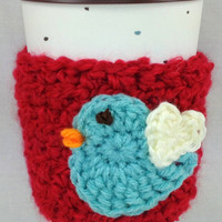 Blue Bird Red Crochet Coffee Cozy