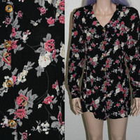 90s mini dess long sleeve black floral sleeves tunic top blouse duster rayon grunge pastel goth boho hipster mod 60s 70s XL L plus size 14
