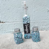 Mosaic Blue Vinegar Salt and Pepper Set