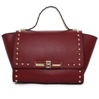 Stud Wing Tote Bag in Wine Red