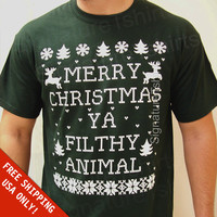 Free Shipping: Merry Christmas Ya Filthy Animal T-shirt shirt Mens Womens matching family Christmas gift tshirt Ladies Funny Christmas shirt