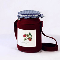 Raspberry Jam Jar Berries Felt Bag