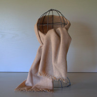 VINTAGE WEST GERMAN Wool Scarf - Warm and Cozy Classic Wrap - Cream Latte - Men or Women - Unisex Autumn & Winter Accessory