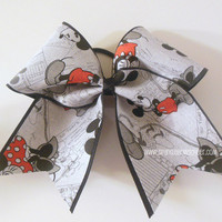 Vintage Minnie and Mickey Fabric Large Cheer Bow Hair Bow Cheerleading