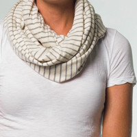 Sweaterknit Infinity Scarf, Oatmeal Grey Stripe : Marine Layer