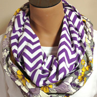 Purple Chevron Gray Floral Infinity Scarf