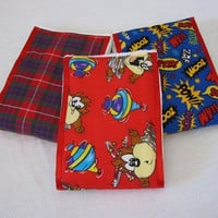 Burp Cloths Looney Toon Taz Character with Red Satin Ribbon