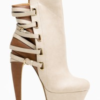 Mona Mia Nude Two Tone Strappy Buckle Booties - Shoes