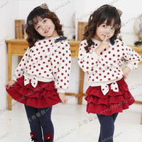 Cute Toddlers Baby Girls Batwing T-shirt Cake Style Short Skirt Bowtie New 1E7