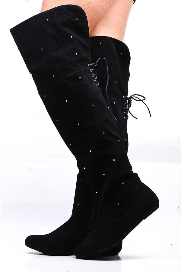 black faux suede studded the knee from pink basis