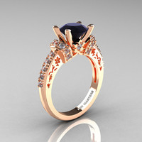 Modern Armenian Classic 18K Rose Gold 1.5 Ct Black and White Diamond Wedding Ring R137-18KRGDBD