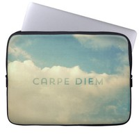 "Cool Vintage Cloud Blue Sky ""Carpe Diem"" Photo Laptop Sleeve"