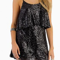 Black Sequin Tier Dress - Free Gift W Purchase