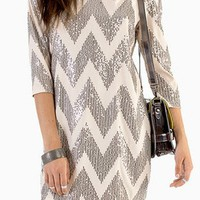 Sequin Chevron Shift Dress - Free Gift W Purchase
