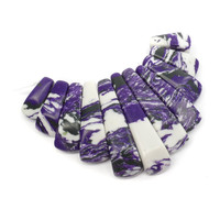 11 Purple White Zebra Turquoise Beads: Man Made Geode Graduated Bead Set B76
