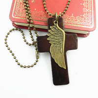 metal chain necklace wing pendant men leather long necklace, women metalwork necklace LB-31