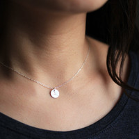 initial necklace with circle pendant - personalized necklace - sterling silver
