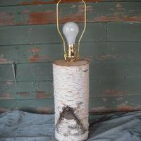 White Birch log table lamp for a touch of the by NHWoodscreations