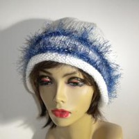 White Cloche with Blue Trim