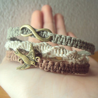 Wrap Bracelet Infinity Hemp Wrap Jewelry Flying Bird Swallow Bracelet Hemp jewelry