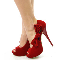 Holly Berry Red Bow Platform Heels