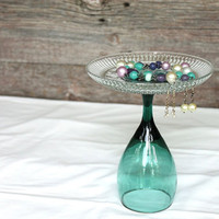 Teal Jewelry Holder Glass Vintage Retro 1980s Dark Aqua Dresser Display Freestanding Organizer Cottage Chic-US Shipping Included