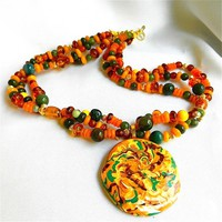 Earthy Autumn Forest Colored Handmade Pendant, Three Strands of Beads