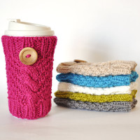 Knitted Cable Travel Mug Cozy