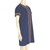 1970s Vintage Cotton Hippie Mini Dress Vibrant Embroidery Festival