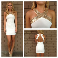 Gold Sequin Cross Over Open Back Dress - White
