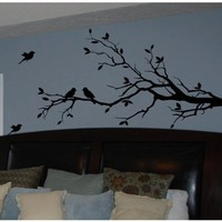 Tree Branch with 10 birds Wall Decals Sticker Nursery Decor Art Mural- IN BLACK