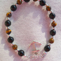 Tiger's Eye Bracelet with Anchor Charm, Unisex